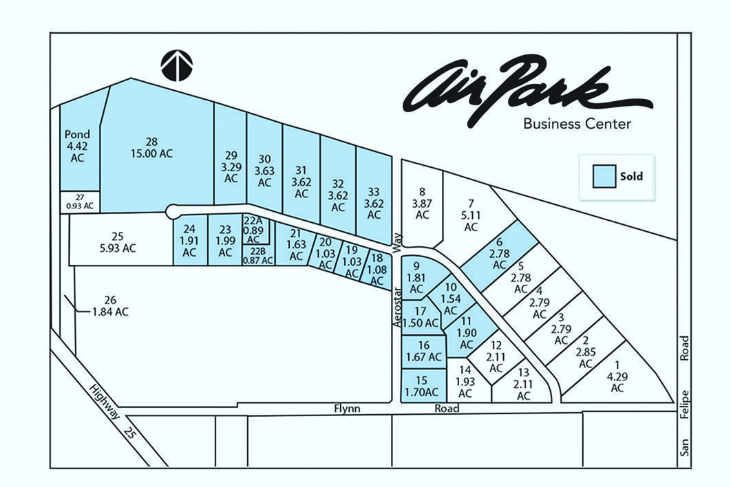 Master plan map for Airpark Business Center in Hollister, CA